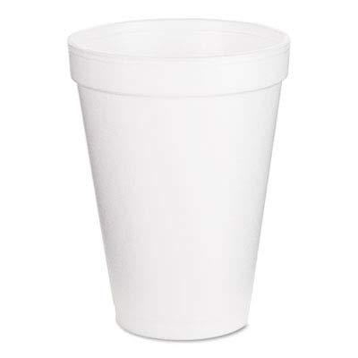 Dart 12J12 Foam Drink Cups, 12oz, White, 25 per Bag (Case of 40 Bags)
