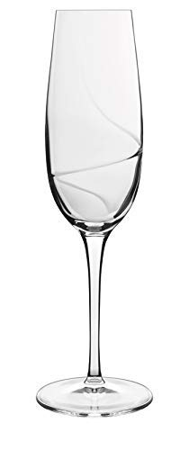 (Luigi Bormioli 10939/01 Aero 8 oz Flutes Sparkling Wine Glasses, Set of 6, Clear)