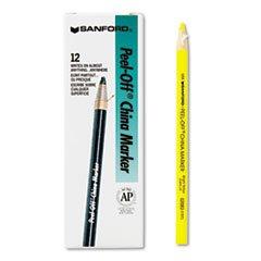 * Peel-Off China Markers, Yellow, Dozen by MotivationUSA