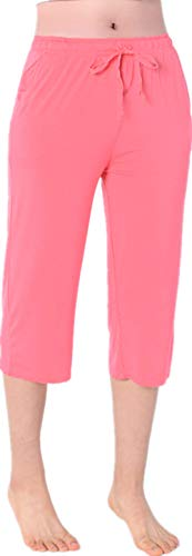 (Nuosha-BABY Womens Pajama Capri Pants Soft Sleepwear Bottoms with Big Pockets Coral Red S)