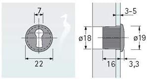 Schl/üsselbuchse Typ 2178 f/ür Spiegelt/üren vernickelt matt