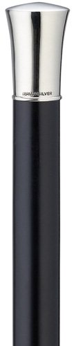 Walking Cane - Men's imported straight formal alpacca cap- 1 3/4'' high on a black maple shaft, 36'' long with rubber tip