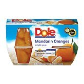 Dole Fruit Bowls, Mandarin Oranges in Light Syrup, 4 oz, 4 ct by Dole