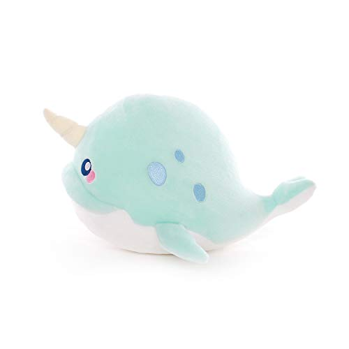 KEEJUNG Narwhal Stuffed Animal-Cute Narwhal Plush Animal Toy Ocean Life Soft Cuddly Gift for Boys and Girls,Teal 8inchs -