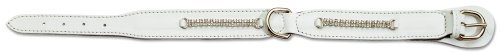 Petego La Cinopelca Padded Leather Dog Collar with Crystals, White, 5/8 Inches, Fits 9 Inches to 11 Inches