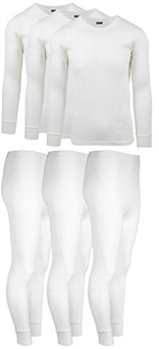 Cotton Set Sleeve Long Underwear (Andrew Scott Mens 3 Pack / 6 Piece Set Fleece Lined Base Layer Long Sleeve Long Pant Thermal Underwear Set (1 & 3 Pack Mix Match Options) (X-Large, 3 Sets/6 Piece -White))