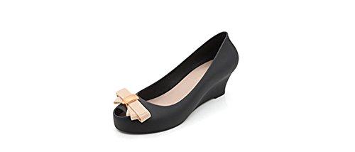 Leather Bke (Sweet Jelly Women's Flats Colorful Waterproof Peep Toe Shoes Slip On Shoe(Black 40/9.5 B(M) US Women))