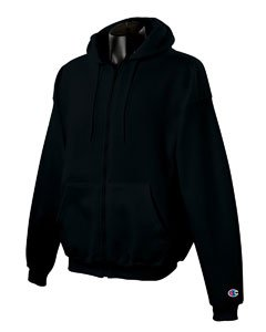 Champion Adult 50/50 Full-Zip Hooded Sweatshirt, Black, Medium