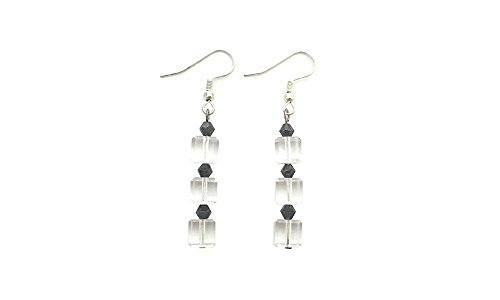 Clear Crystal Earrings Stacked with Gunmetal Bicone Beads | Handmade Classic Jewelry for (Metal Bicone)