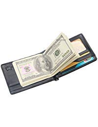 (RFID Money Clip Wallet and Credit Card Holder for Men - Crocodile Patterned Genuine Leather)