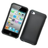 Eagle Cell PHIPODTO4BKBK Hybrid Protective Gummy TPU Case for iPod Touch 4 - Retail Packaging - Black (Ipod Pandamimi Cases 4 For)