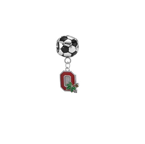 Ohio State Buckeyes Style 2 Soccer 3D Universal European Bracelet Charm ()