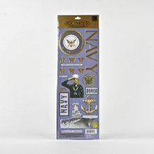 Military Foil Embossed Stickers-Navy