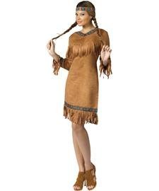 FunWorld Native American Adult Costume, Brown, Small/Medium (2-8) -