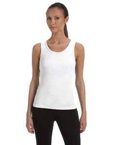 Bella Ladies' 1x1 Rib Tank Top, Medium, White (Cotton Knit Rib Tank)