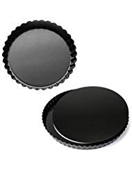 MJ Kitchen 2 Pack 11 Inch Removable Bottom Tart Pan, Quiche Pan, Pie Pan with Removable Base, Non-Stick Tart Pie Quiche Baking Dish ()