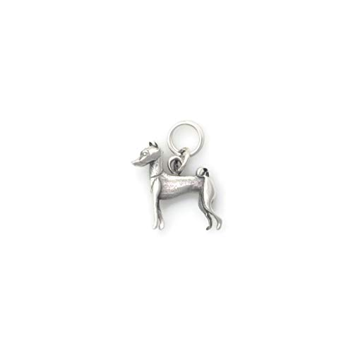 Sterling Silver Basenji Charm, Silver Basenji Pendant, Silver Basenji Jewelry fr Donna Pizarro's Animal Whimsey Colleciton