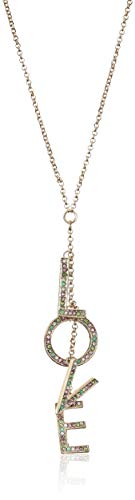 BCBG Generation Women's Pave 'Love' Affirmation Pendant Gold Necklace, Pastel Multi, One - Affirmation Pendant