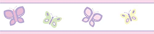 Pink and Purple Butterfly Baby and Childrens Wall Border by Sweet Jojo Designs - Trim Cradle Bedding