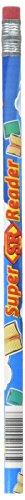 Super Reader Reward Pencils - Moon Products Dozen Decorated HB 2 Wood Pencil, Super Reader,  Blue Barrel (MPD2112B)