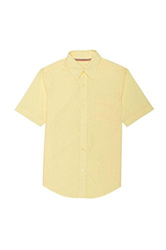 French Toast Big Boys Short Sleeve Classic Dress Shirt, Yellow, 16 (Classic Poplin Dress Shirt)
