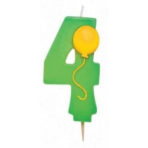 Number ''4'' Pick Candle with Balloon Party Accessory - Green