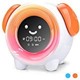 KUUOTE Kids Alarm Clock, Children Sleep Training Clock with 7 Changing Colors Teach Girls Boys Toddlers Time to Wake, Night Light Clock with 2400mAh Rechargeable Battery USB Charging, Orange