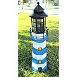 Solar Powered 4 Amer LED White and Blue Striped Fiberglass Lighthouse -