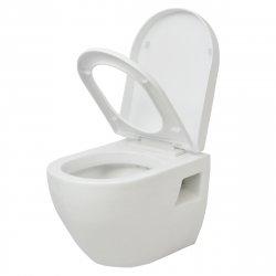 vidaXL Wall Hung Toilet Ceramic White Bathroom WC Soft-Close Seat Fixture