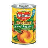 Del Monte Peaches Sliced Yellow Cling 100% Juice - 12 Pack