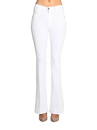 James Jeans Women's High Waisted Shayebel Trouser Flare Jeans in Crisp White Size 26 ()