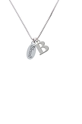 Delight Blessed Oval - Capital -B- Initial Necklace