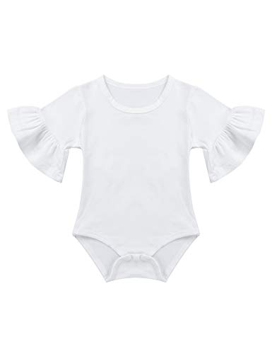 Ivory Flutter Sleeve Top - FEESHOW Infant Baby Girls Cotton Flutter Sleeve Bodysuit Romper One Piece Summer Top Shirts Bell Sleeve Ivory 9-12 Months