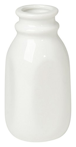 Now Designs Ceramic Milk Bottle, Small, White (White Mini Creamer)