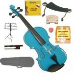 GRACE 1/8 Size Blue Acoustic Violin with Case and Bow+Rosin+2 Sets Strings+2 Bridges+Tuner+Shoulder Rest+Music Stand
