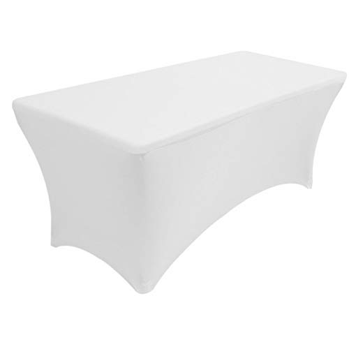 Colorwave Accent - Mikash 8 ft. Spandex Fitted Stretch Tablecloth Table Cover Wedding Banquet Party White | Model TBLCLTH - 79