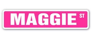 (MAGGIE Street Sticker Sign name childrens room door gift kid child boy girl wall entry - Sticker Graphic - Auto, Wall, Laptop, Cell, Truck Sticker for windows, cars, trucks, tool boxes, laptops)