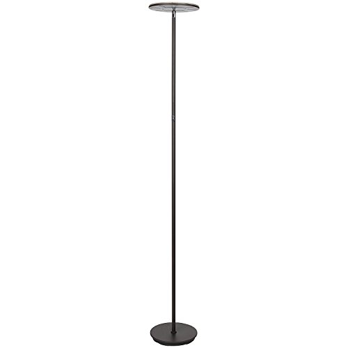 Brightech Sky Flux - Modern LED Torchiere Floor Lamp for Living Rooms & Bedrooms - Adjustable Warm to Cool White - Tall Pole, Standing Office Light - Bright, Minimalist & Contemporary Uplight - Bronze by Brightech