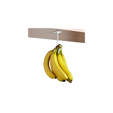Banana Hook / Hanger (White) -- Under Cabinet Hook to Hang a Bunch of Bananas. Folds Up Out of Sight When Not in Use. Mounting Adhesive Included. Hanging Bananas Prevents Bruising