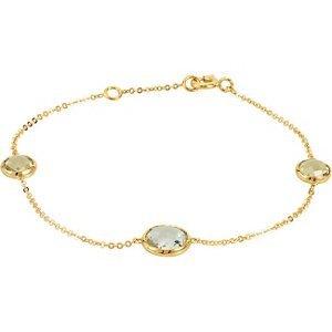 14kt Jaune Quartz Prase et citron 17,8cm à quartz bracelet