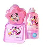 Minnie Mouse and Daisy Duck Pink and Purple Sandwich Container, Water Bottle with Attached Snack Cup, and Snack Container Lunch Box 3 Piece -