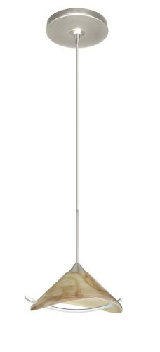 Besa Lighting 1XP-181305-SN Hopi 1-Light  12-volt Mini-Pendant, Mocha Glass Shade with Clear Accent and Satin Nickel Finish