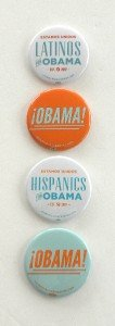 OFFICIAL Estamos Unidos Latinos Hispanics OBAMA! 4 Button Pinbacks 2.25