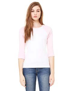 Bella Womens Baby Rib Contrast 3/4 Sleeve Raglan T-Shirt in SM in b-BB2000-WHITE-PINK (Baby Rib Womens Shirt)