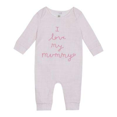 bluezoo Kids Baby Girls' Pink 'I Love My Mummy' Sleepsuit 0-3 Months
