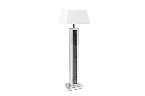 - Best Quality Furniture AC118 Floor Lamp + Shade, Silver Mirror