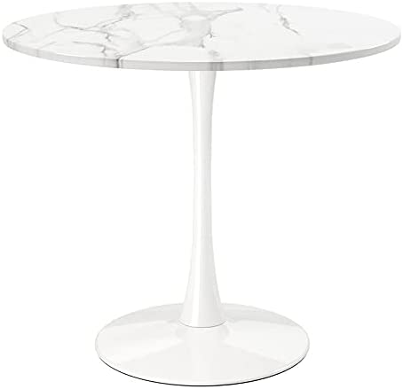"""Aron Living Rose 36"""" Wood and Marble Laminated Dining Table in White"""