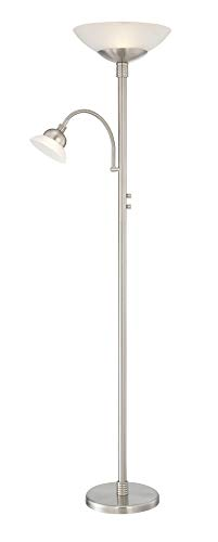Lite Source Natalia Nickel LED Reading and Torchiere Floor Lamp