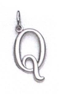 "Blanc 14 carats pendentif Initiale ""Q"" - 11/16 ""- JewelryWeb"