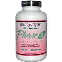 Origines santé, Phase 2, neutralisant d'amidon, 500 mg, 180 Capsules